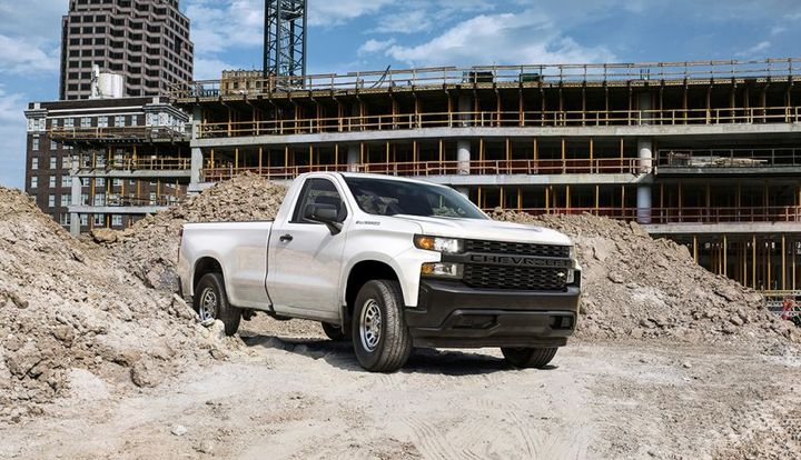"The all-new 2019 Silverado Work Truck features a ""CHEVROLET"" graphic across the grille and tailgate, blacked-out trim and 17-inch steel wheels for maximum durability. The interior features durable vinyl or cloth seats and 7-inch color touch screen."